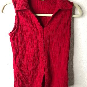 Andrew & Co Red Puckered Tank Top Womens Size M